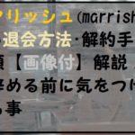 マリッシュ(marrish)退会方法・解約手順【画像付】 退会前に注意すべき事とは?